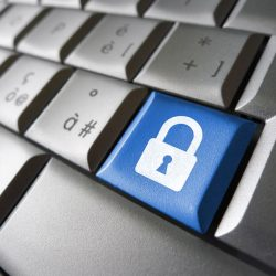 32094937 - internet, web and computer data security concept with padlock icon and symbol on a blue laptop key for website and online business.